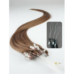 "15"" (40cm) Micro ring human hair extensions – medium light brown"