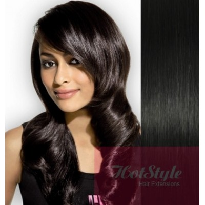 Clip in vlasy 43cm 100% ľudské - REMY 70g - čierna