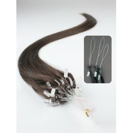 "24"" (60cm) Micro ring human hair extensions – dark brown"