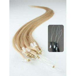 "24"" (60cm) Micro ring human hair extensions – natural blonde"