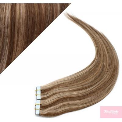 Vlasy pre metódu Pu Extension / Tapex / Tape Hair / Tape IN 50cm - tmavý melír