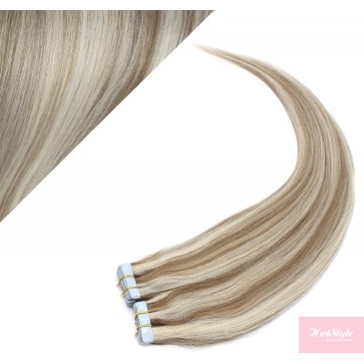 Vlasy pre metódu Pu Extension / Tapex / Tape Hair / Tape IN 60cm - platina / svetlo hnedá