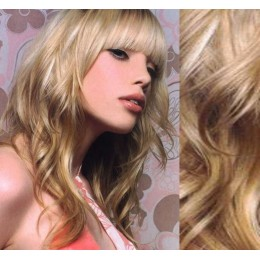 "20"" (50cm) Clip in wavy human REMY hair - platinum/light brown"