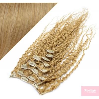 Clip in kučeravé vlasy 100% ľudské REMY 53 cm - prírodná blond