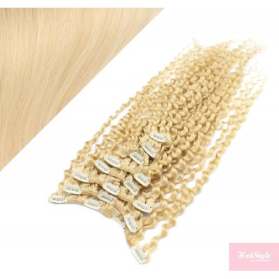 Clip in kučeravé vlasy 100% ľudské REMY 53 cm - najsvetlejšia blond