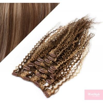 Clip in kučeravé vlasy 100% ľudské REMY 53 cm - tmavý melír
