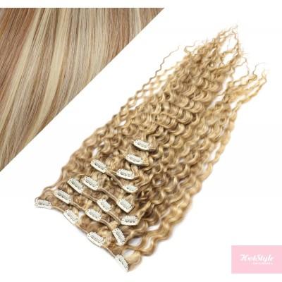 Clip in kučeravé vlasy 100% ľudské REMY 53 cm - svetlý melír