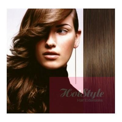 Clip in vlasy 43cm 100% ľudské - REMY 70g - stredne hnedá