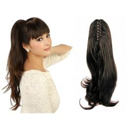 """Claw ponytail 24"""" wavy - dark brown"""