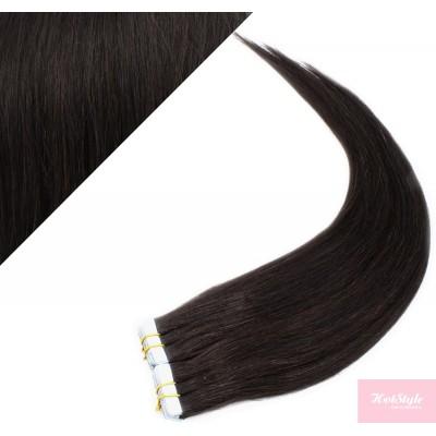 Vlasy pre metódu Pu Extension / Tapex / Tape Hair / Tape IN 60cm - prírodná čierna
