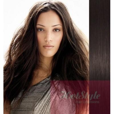 Clip in vlasy 43cm 100% ľudské - REMY 70g - prírodná čierna