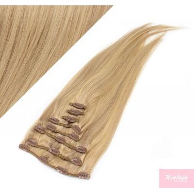 Clip in vlasy 43cm 100% ľudské - REMY 70g - prírodná/svetlejšia blond