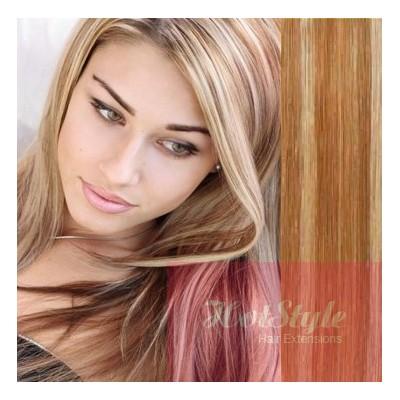 Clip in vlasy 43cm 100% ľudské - REMY 70g - svetlý melír