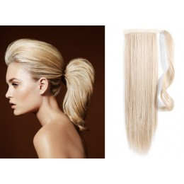 "Clip in human hair ponytail wrap hair extension 24"" straight - platinum blonde"
