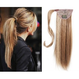 "Clip in human hair ponytail wrap hair extension 24"" straight - mixed blonde"