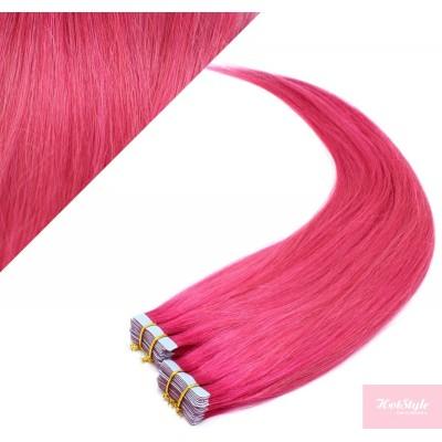 Vlasy pre metódu Pu Extension / Tapex / Tape Hair / Tape IN 50cm - ružová