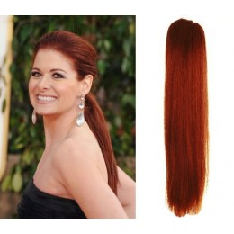 "Clip in human hair ponytail wrap hair extension 24"" straight - copper red"