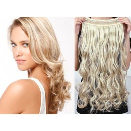 16˝ one piece full head clip in hair weft extension wavy – black