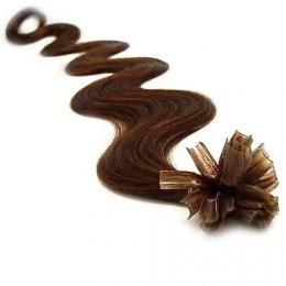 Vlasy európskeho typu na predĺženie keratínom 50cm vlnité - stredne hnedé