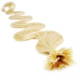 Vlasy európskeho typu na predĺženie keratínom 60cm vlnité - najsvetlejšia blond