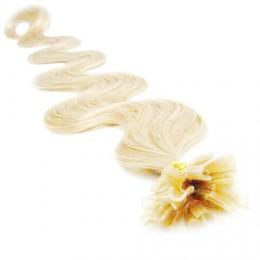 Vlasy európskeho typu na predĺženie keratínom 60cm vlnité - platina