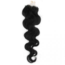 Vlasy pre metódu Micro Ring / Easy Loop / Easy Ring 50cm vlnité - čierne