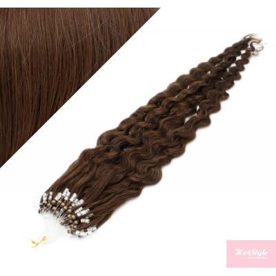 Vlasy pre metódu Micro Ring / Easy Loop / Easy Ring 50cm kučeravé - stredne hnedé