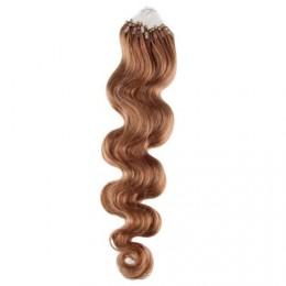 Vlasy pre metódu Micro Ring / Easy Loop / Easy Ring 60cm vlnité - svetlo hnedé