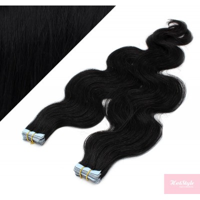 Vlasy pre metódu Tapex / Tape Hair / Tape IN 50cm vlnité - čierne