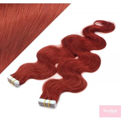 Vlasy pre metódu Tapex / Tape Hair / Tape IN 50cm vlnité - medená