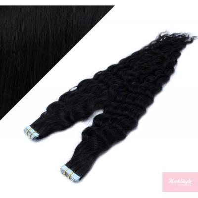 Vlasy pre metódu Tapex / Tape Hair / Tape IN 50cm kučeravé - čierne