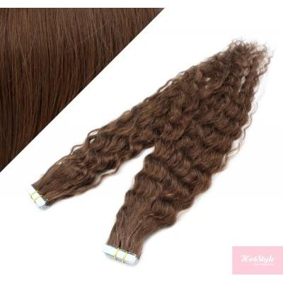 Vlasy pre metódu Tapex / Tape Hair / Tape IN 50cm kučeravé - stredne hnedé