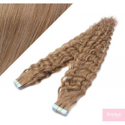 Vlasy pre metódu Tapex / Tape Hair / Tape IN 50cm kučeravé - svetlo hnedé