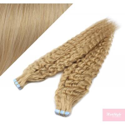Vlasy pre metódu Tapex / Tape Hair / Tape IN 50cm kučeravé - prírodná blond
