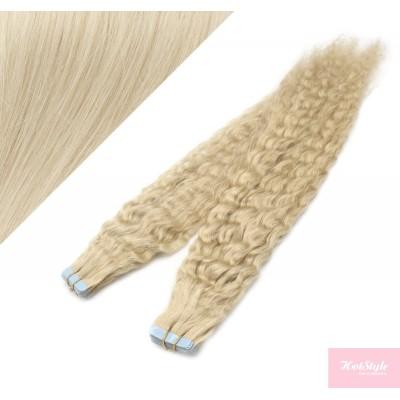 Vlasy pre metódu Tapex / Tape Hair / Tape IN 50cm kučeravé - platina