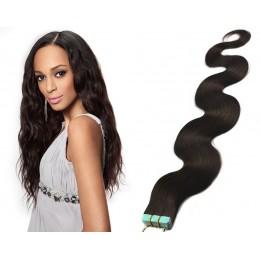 Vlasy pre metódu Tapex / Tape Hair / Tape IN 60cm vlnité - prírodné čierne