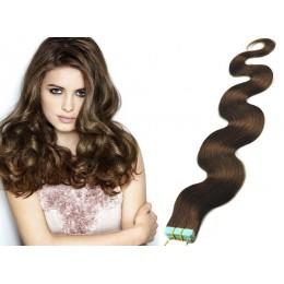 Vlasy pre metódu Tapex / Tape Hair / Tape IN 60cm vlnité - stredne hnedé