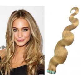 Vlasy pre metódu Tapex / Tape Hair / Tape IN 60cm vlnité - prírodná blond
