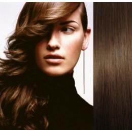 Clip in vlasy 43cm 100% ľudské 100g - stredne hnedá