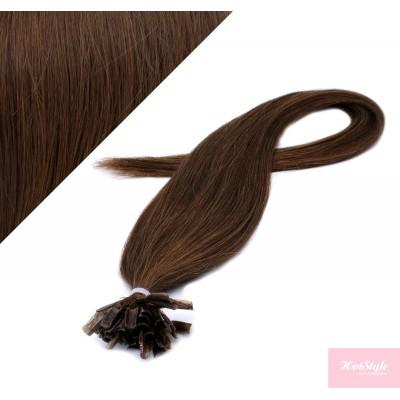 Vlasy európskeho typu na predlžovanie keratínom 40cm - stredne hnedé