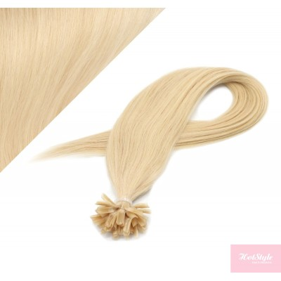 Vlasy európskeho typu na predlžovanie keratínom 40cm - najsvetlejšia blond