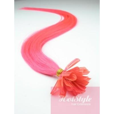 Vlasy európskeho typu na predlžovanie keratínom 40cm - ružové