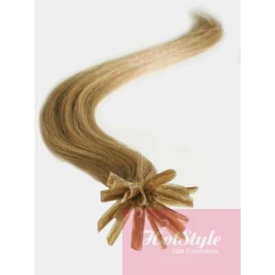 Vlasy európskeho typu na predlžovanie keratínom 50cm - svetlo hnedé