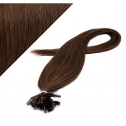 Vlasy európskeho typu na predlžovanie keratínom 50cm - stredne hnedé