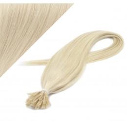 Vlasy európskeho typu na predlžovanie keratínom 50cm - platinové