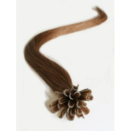 "24"" (60cm) Nail tip / U tip human hair pre bonded extensions – medium light brown"