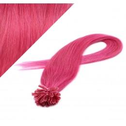 Vlasy európskeho typu na predlžovanie keratínom 60cm - ružové
