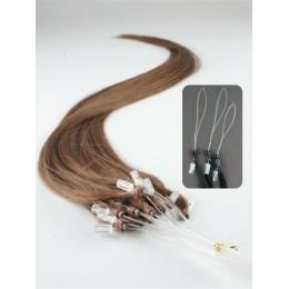 "24"" (60cm) Micro ring human hair extensions – medium light brown"