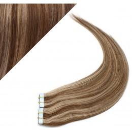 Vlasy pre metódu Pu Extension / Tapex / Tape Hair / Tape IN 40cm - tmavý melír