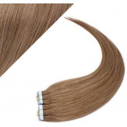 Vlasy pre metódu Pu Extension / TapeX / Tape Hair / Tape IN 50cm - svetlo hnedé